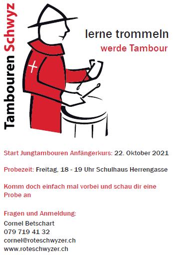 Lerne trommeln beim Tambourenverein Schwyz 2021